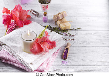 Spa flowers and candles - Spa flowers, sea salt, towels and...