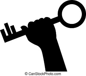hand holds the key - black silhouette of a hand holding a...