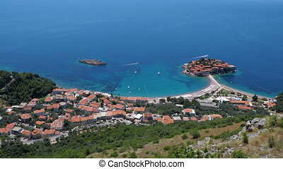 General good view of Sveti Stefan. Montenegro. different...