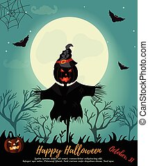 Halloween background with scarecrow, full moon and bats. Invitation template
