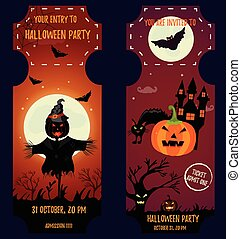 Ticket Halloween Party. Invitation template. Halloween background with creepy house, moon, scarecrow, scare pumpkin, cat and bats