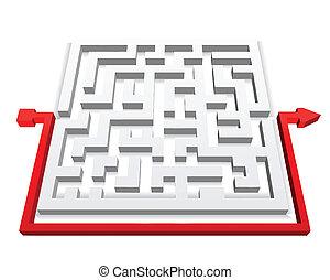 Path across labyrinth. Vector