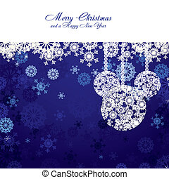 Merry Christmas and Happy New Year Christmas card with...