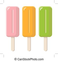 set of colorful popsicles