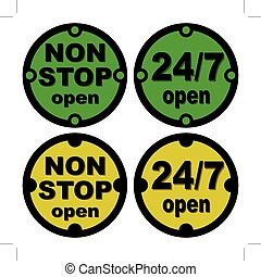 non stop open and twenty-four seven open symbol in green and...