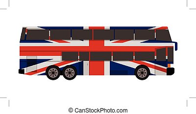 double decker bus with great britain flag color