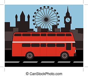 double decker bus with london skyline in background