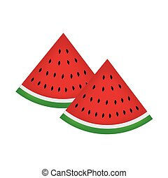 two slices of watermelon fruit