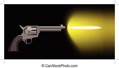 old revolver firing