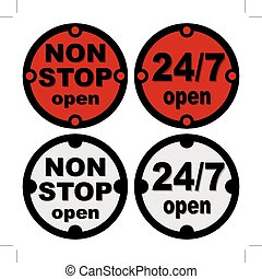 non stop open symbol - non stop open and twenty-four seven...