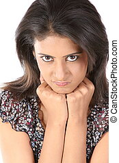 woman with an angry expression - Portrait of a young woman...