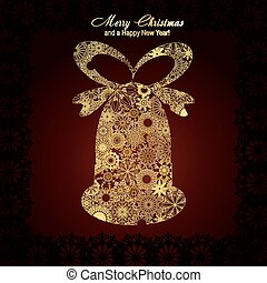 Christmas bell made from gold snowflakes on brown background, vector illustration