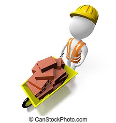 3D worker with bricks - 3D cartoon character, construction...