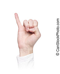 Letter J in sign language, isolated on a white background