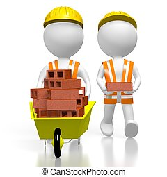 3D workmen with bricks - 3D cartoon characters/ workers,...