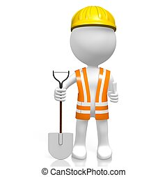 3D worker with a shovel - OK sign