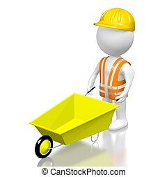3D worker with a wheelbarrow