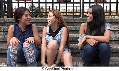 Group Of Teens Hanging Out