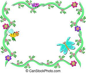 cornice, piante, ape, coccinella