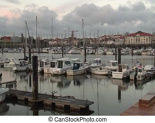 Les Sables d'Olonnes harbour - Long travelling of the...