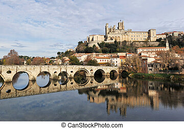 Beziers cathedral and old bridge - architecture of Beziers...