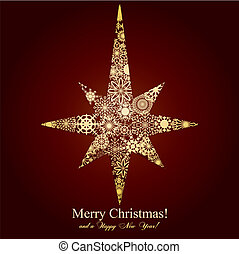 Christmas star mage from snowflakes on brown background,...