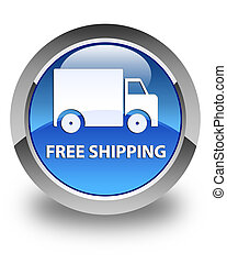 Free shipping glossy blue round button