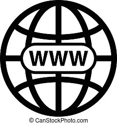 Black world wide web vector icon - Vector illustration of a...