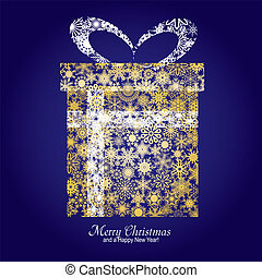 Christmas card with gift box made from gold snowflakes on blue background and a wish of Merry Christmas and a Happy New Year, vector illustration