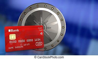3d bank card - 3d illustration of valut door over blue graph...