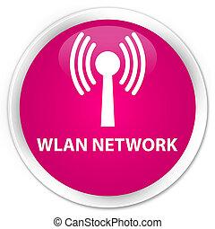 Wlan network premium pink round button - Wlan network...