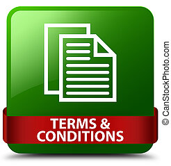 Terms and conditions (pages icon) green square button red ribbon in middle