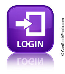Login special purple square button - Login isolated on...