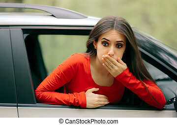 Car Sick Woman Having Motion Sickness Symptoms - Suffering...
