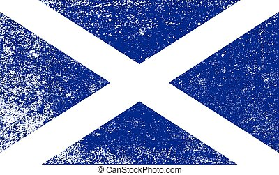 Scotish Flag With Grunge