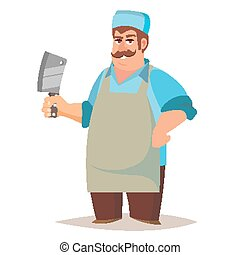 Happy Butcher Vector. Standing Butcher Man With Knife....