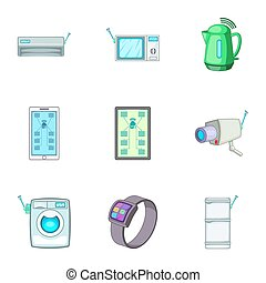 Smart home automation technology icons set. Cartoon set of 9...