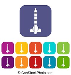 Atomic rocket icons set illustration in flat style in colors...