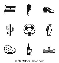 Typical Argentina icons set, simple style - Typical...
