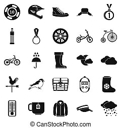 Outdoor sports icons set, simple style