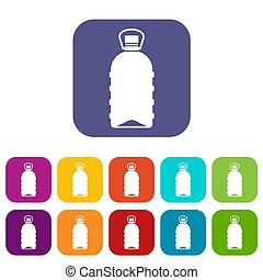 Big bottle icons set