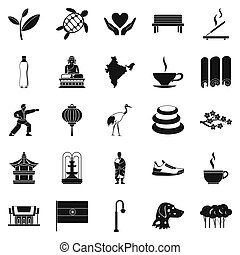Martial arts icons set, simple style - Martial arts icons...