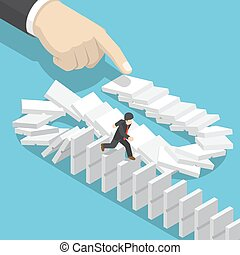 Isometric businessman running away on domino that falling by...