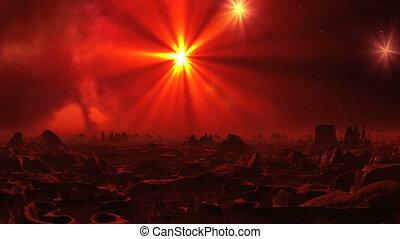 Surrealistic Landscape of Alien Planet