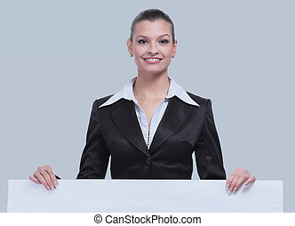 Beautiful young business woman with copy space isolated -...