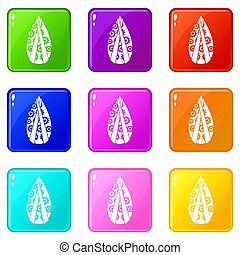 Memorial wreath set 9 - Memorial wreath icons of 9 color set...