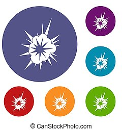 Nucleate explosion icons set in flat circle red, blue and...