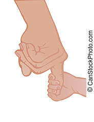 Vector illustration adult and babys hands