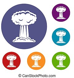 Mushroom cloud icons set in flat circle red, blue and green...