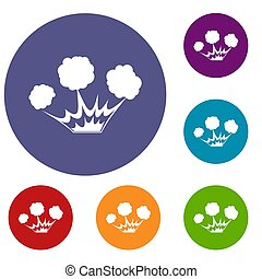 Explosion icons set in flat circle red, blue and green color...